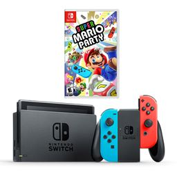 Nintendo Switch Console with Neon Joycon Controllers and Super Mario Party Bundle