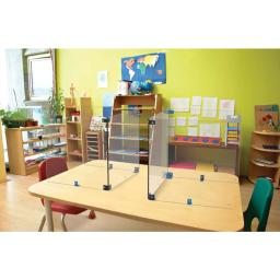 Copernicus Protective Shield Sneeze Guard Desk U-Shaped Dry-Erase Divider Kit - Perfect for School, Classroom, Libraries - Clear