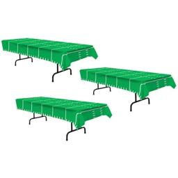 "Beistle S57942AZ3 3Piece Game Day Football Tablecovers, 54"" x 108"", Green/White"