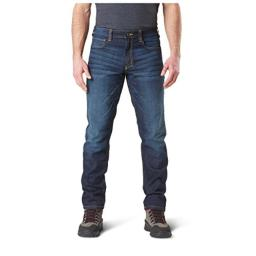 5.11 Tactical Men's Defender-Flex Slim Work Jeans, Patch Pockets, Fitted Waistband, Dark Wash Indigo, 34Wx32L, Style 74465
