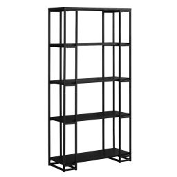 """Offex 60""""H Contemporary High Bookcase with Satin Metal Frame, Black, 50 lbs"""