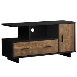 "Offex 48""L Contemporary 2 Toned Brown Reclaimed Wood - Look TV Stand with 2 Open Cubbies - Black"