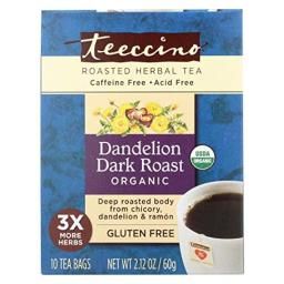 Teeccino Organic Herbal Coffee - Dandelion Dark Roast - 10 Bags - Case of 6