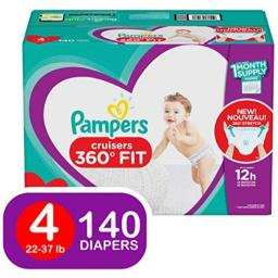 Diapers Size 4, 140 Count - Pampers Pull On Cruisers 360Ëš Fit Disposable Baby Diapers with Stretchy Waistband, ONE Month Supply