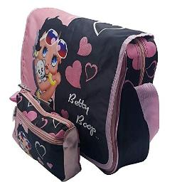 Betty Boop Large Messenger Bag   Girls Laptop Briefcase Bag   and Pencil Case Set (Pink and Black)