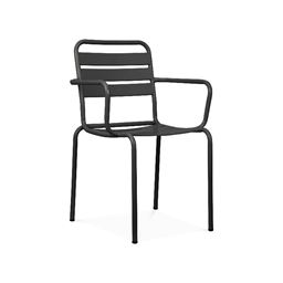 Paris Black Metal Stackable Arm Chair (Set of 4)