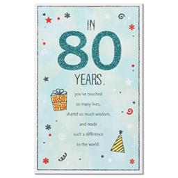 American Greetings in 80 Years 80th Birthday Greeting Card with Glitter