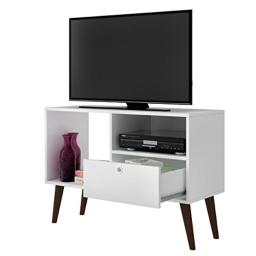 Manhattan Comfort Bromma Collection Mid Century Modern TV Stand With Open Cubby Space and One Drawer With Splayed Legs, White