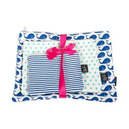 Whales Set of 3 Aqua Navy Blue 12 x 5 Inch Cotton Patterned Zippered Pouches Set