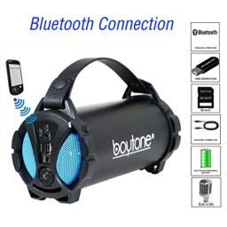 Boytone BT-38BL Portable Bluetooth Indoor/Outdoor Speaker 2.1 Hi-Fi Cylinder Loud Speaker with Built-in 2x3 Sub and SD Card, USB, USB Charger, AUX, FM Radio, Built in Rechargeable Battery