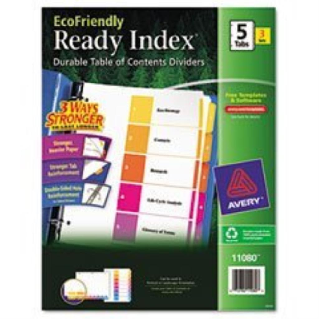 AVE11080 - Customizable TOC Ready Index Multicolor Dividers