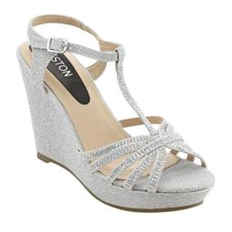 BESTON ID68 Women's Glitter T-Strap Cage Platform Wedge Sandal Half Size Smaller, Color:Silver, Size:9