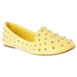 BAMBOO Womens Kiwi Studded Canvas Shoes, Yellow, 5.5