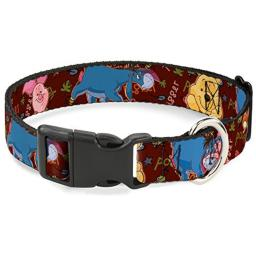Buckle Down Cat Collar Breakaway Winnie The Pooh Character Poses 8 to 12 Inches 0.5 Inch Wide