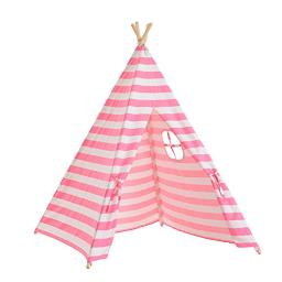 Tiny Land Kids Teepee Tent For Girls Princess, 5 Canvas Childrens Play Tent For Indoor Outdoor With Carry Case , Pink & White Stripe