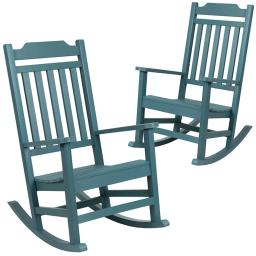 Flash Furniture Set of 2 Winston Teal Faux Wood All-Weather Rocking Chair for Indoor and Outdoor