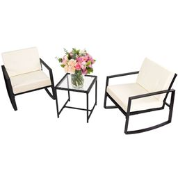 3pcs Rattan Wicker Rocking Chair Set Garden With Cushions