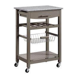 Contemporary Style Kitchen Island with Granite Top and Casters, Gray