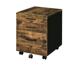 Industrial 3 Drawer Wooden File Cabinet with Caster Support,Brown and Black