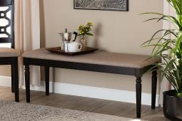 Baxton Studio Giovanni Modern and Contemporary Sand Fabric Upholstered and Dark Brown Finished Wood Dining Bench