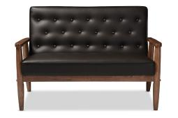 Baxton Studio Sorrento Mid-century Retro Modern Brown Faux Leather Upholstered Wooden 2-seater Loveseat