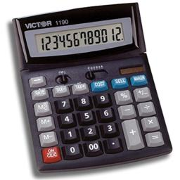 Victor 1190 12-Digit Standard Function Desktop Calculator, Battery and Solar Hybrid Powered Tilt LCD Display, Large Keys, Great for Home and Office Use, Black