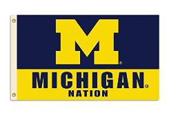 BSI PRODUCTS, INC. - Michigan Wolverines 3?x5? Flag with Heavy-Duty Brass Grommets - MICH Football, Basketball & Baseball Pride - High Durability - Designed for Indoor or Outdoor Use - Great Gift Idea