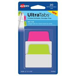 """Avery Big Ultra Tabs, 2"""" x 1.75"""", 2-Side Writable, Neon Pink/Green, 20 Repositionable Tabs (74764)"""