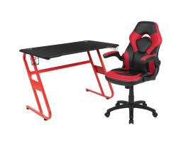 Offex Red Gaming Desk and Red/Black Racing Chair Set with Cup Holder and Headphone Hook