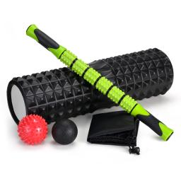 5-In-1 Large size Foam Roller Kit with Muscle Roller Stick and Massage Balls, High Density 18'' Foam Roller for Muscle Therapy and Balance Exercise