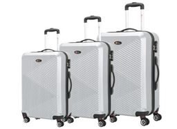Brio Luggage Pet Ridged Luggage Set #C607 - Silver