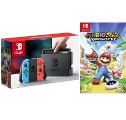 Nintendo Switch Console with Neon Blue and Red Joy-Con Controllers and Mario Rabbids Kingdom Battle Bundle