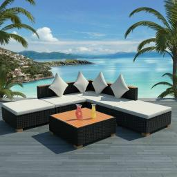Outdoor Garden Lounge Set - Poly Rattan WPC Top - Black