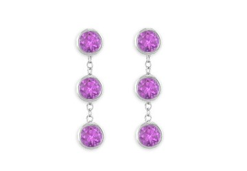 14K White Gold Fashion Bezel Set Amethyst Drop Station EarringsTotaling 6 Carat Gem Weight