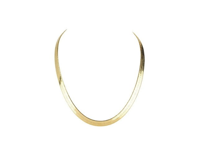 """14K White Gold Filled Solid Herringbone Flat Necklace 20"""""""