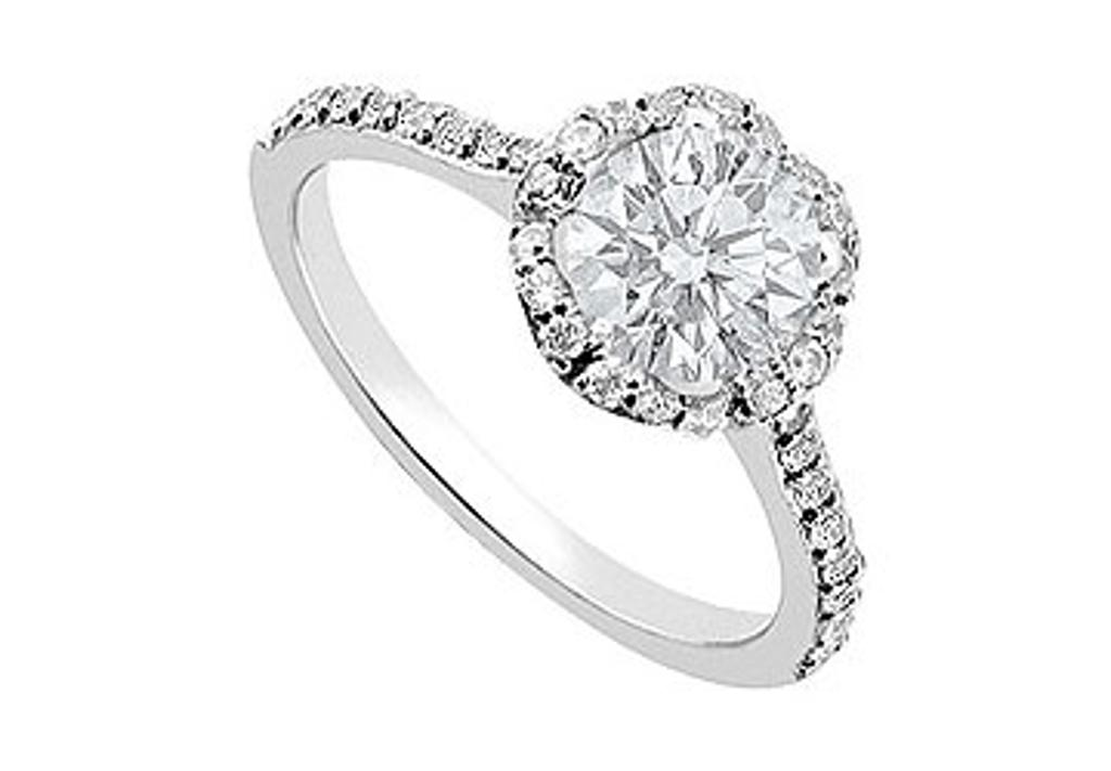 14K White Gold Engagement Ring with 1 Carat Totaling Gem Weight of CZ AAA Quality