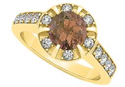Fancy Fashion Ring with Round Smoky Quartz and Cubic Zirconia