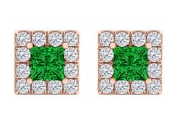 Emerald CZ Square Halo Stud Earrings in 14K Rose Gold