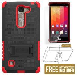 RED TRI-SHIELD RUGGED SOFT SKIN HARD CASE COVER KICKSTAND FOR LG SPIRIT LOGOS