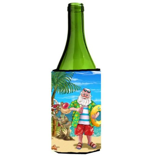 Beach Christmas Santa Claus Swimming Wine Bottle Can cooler Hugger