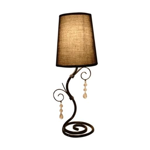 All The Rages LT2010-BWN Twisted Table Lamp with Brown Shade and Hanging Beads - Vine