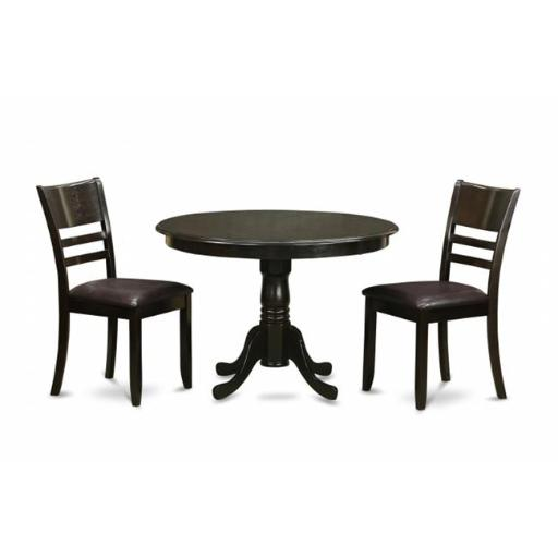 East West Furniture ANLY3-CAP-LC 3 Piece Kitchen Table Set-Round Kitchen Table and 2 Dining Chairs
