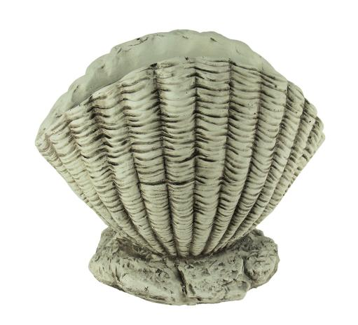 Weathered White Cement Look Scallop Shell Planter