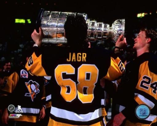 Jaromir Jagr with the Stanley Cup Championship Trophy Game 4 of the 1992 Stanley Cup Finals Photo Print SGVGAXC9HAZGGKH6