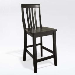 Crosley School House Bar Stool in Black Finish with 24 Inch Seat Height. (Set of Two)