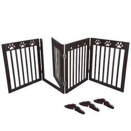 "80""x24"" 4 Panel Folding Pet Gate Wood Dog Fence Baby Safety Gate Playpen Barrier"
