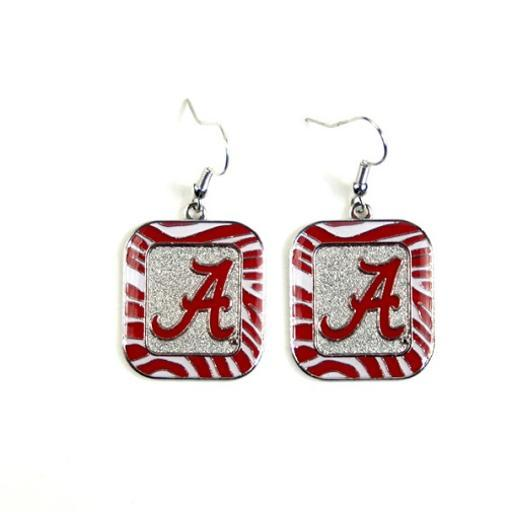 Alabama Crimson Tide NCAA Zebra Style Dangle Earrings 4MXDTLAR14UYP8HD
