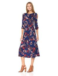 CLAYTON Women's Helena Cold Shoulder Midi Dress, Navy Plume, X-Small