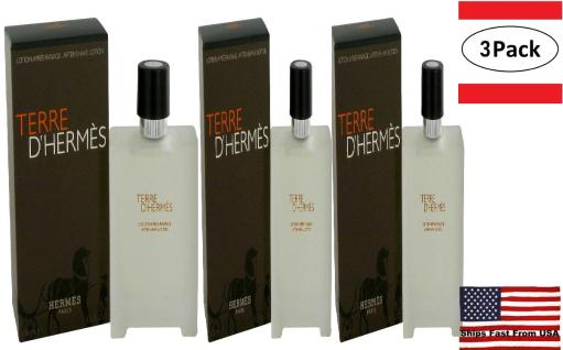 3 Pack Terre D'Hermes by Hermes After Shave Lotion 3.4 oz for Men Hermes Terre D'Hermes harkens to the scent of a natural man living in splendor. This elegant fragrance debuted on the market in 2006 and quickly defined itself as a leading industry standard. We are pleased to sell Hermes Terre d'Hermes products, including Terre d'Hermes cologne.