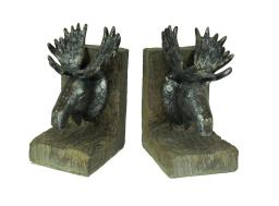 Rustic Distressed Cast Iron Moose Head Bookends